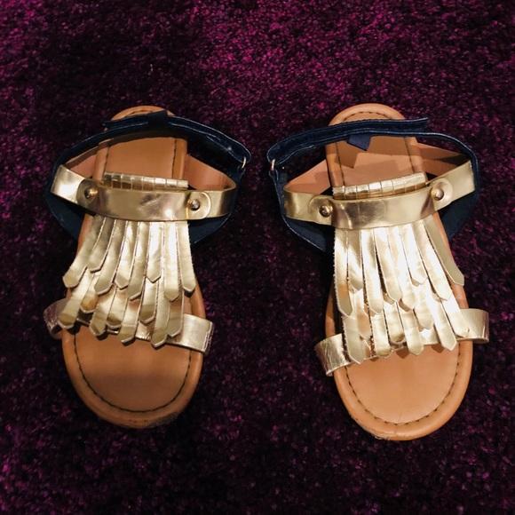H\u0026M Shoes   Toddler Girl Gold Sandals